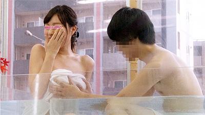 友達同士2人っきりで初めての混浴温泉